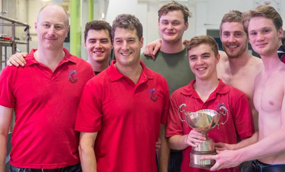 "Watford Players Danny, Jared, Steve, Peter, Cameron, Ciaran, James receive the ""Wally Rowse"" trophy..."