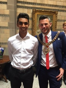 Aril with the Mayor of Manchester..