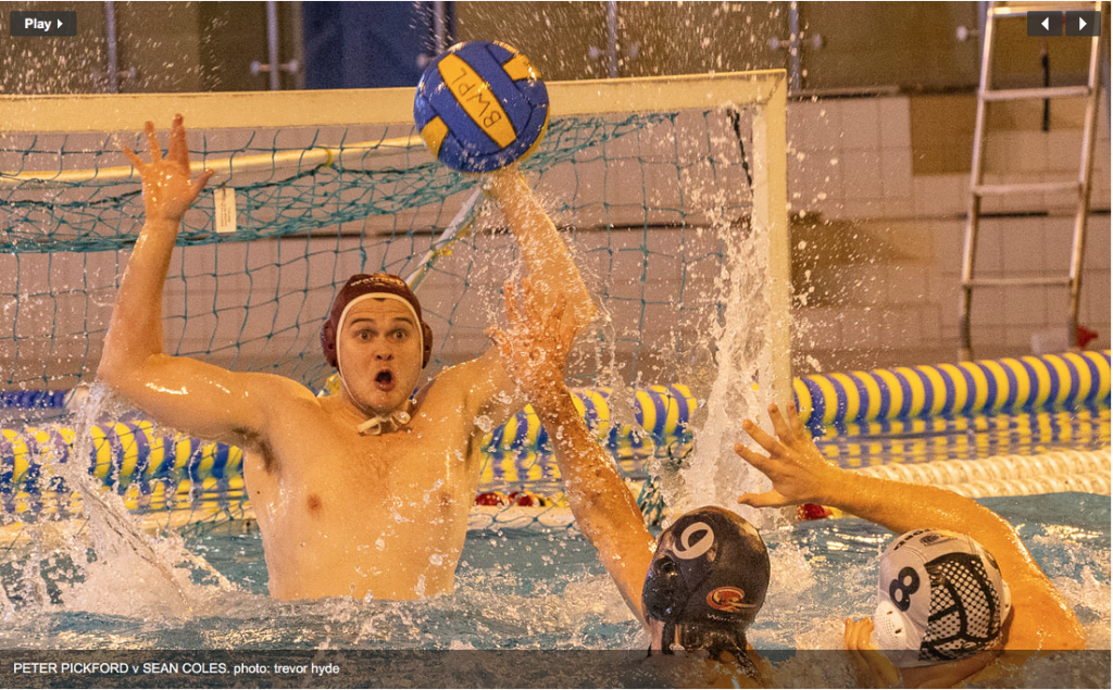 Watford & GB Goalie Peter Pickford saves in BWPL Div One encounter against Sean Coles of Bristol - phot credit Treor Hyde